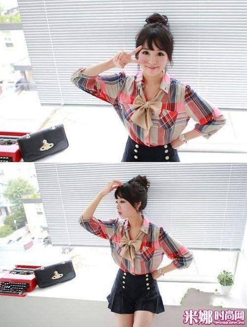可爱 搭配/英伦风十足的格子衬衫,系上丝质的蝴蝶结领带很可爱迷人。